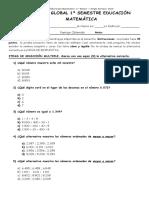 Prueba Global 1º Semestre Educación Matemática