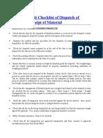 Internal Audit Checklist of Dispatch of Goods