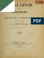 Elisa Linch por Orion juicio critico dado por el Diario La República, Buenos Aires año 1870
