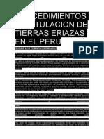 Procedimientos de Titulacion de Tierras Eriazas en El Peru