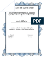Islamic Certificate of Participation