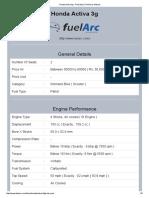 Honda Activa 3g - Print Spec, Print User Manual
