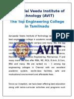 AVIT - The Top Engineering Colleges in Chennai, Tamilnadu