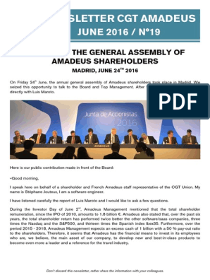 Newsletter CGT Amadeus: JUNE 2016 / N°19