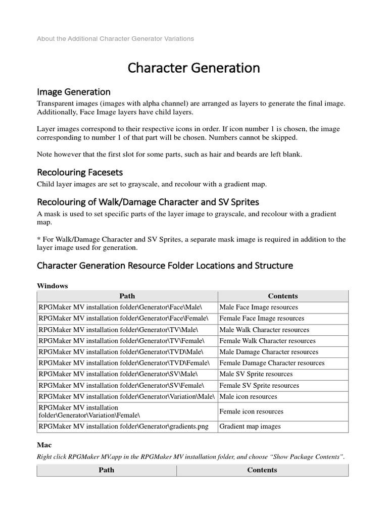 RPG Maker MV Character Generator Tutorial   Mac Os   Filename