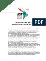 Declaración Final del XXII Encuentro del Foro de São Paulo
