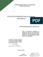CarvalhoFilho,EneutonDornellasPessoade. a Evolução Do Emprego Público No Brasil