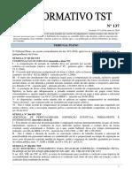 Informativo TST 137 (Novas Redações)