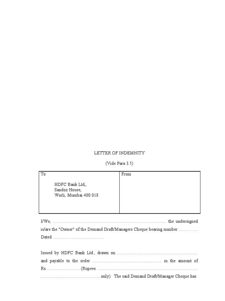 western railway deed of indemnity westernrailwaydeedofindemnity – Indemnity Letter Template
