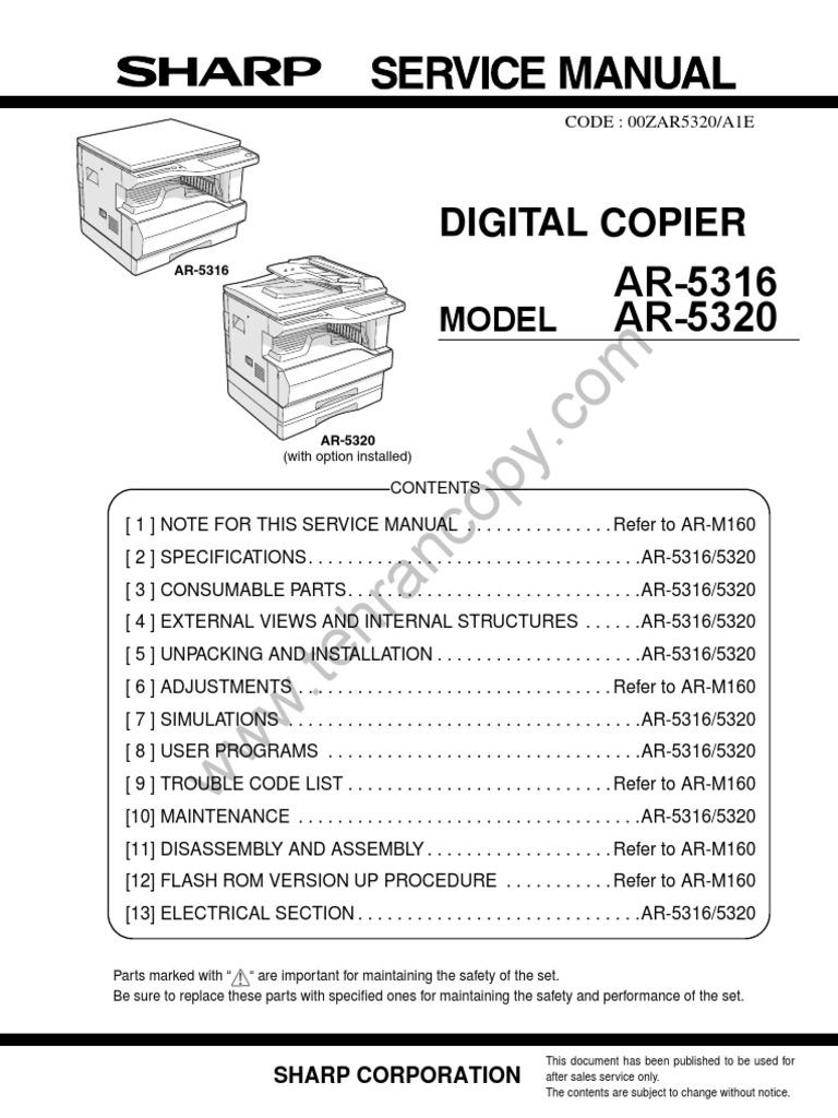 sharp ar 5316 5320 service manual soldering booting rh pt scribd com