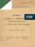 Sobre el problema de colonización de la zona del río baker 1928 (región de Aysen)