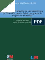 Evaluación participativa de una experiencia de educación para la salud con un grupo de mujeres en Moratalaz