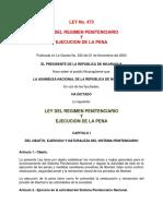 Ley 473 Ley Del Regimen Penitenciario y Ejecucion de La Pena