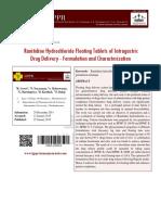 Ranitidine Hydrochloride Floating Tablets of Intragastric Drug Delivery
