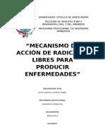 MECANISMO DE ACCIÓN DE RADICALES LIBRES PARA PRODUCIR ENFERMEDADES
