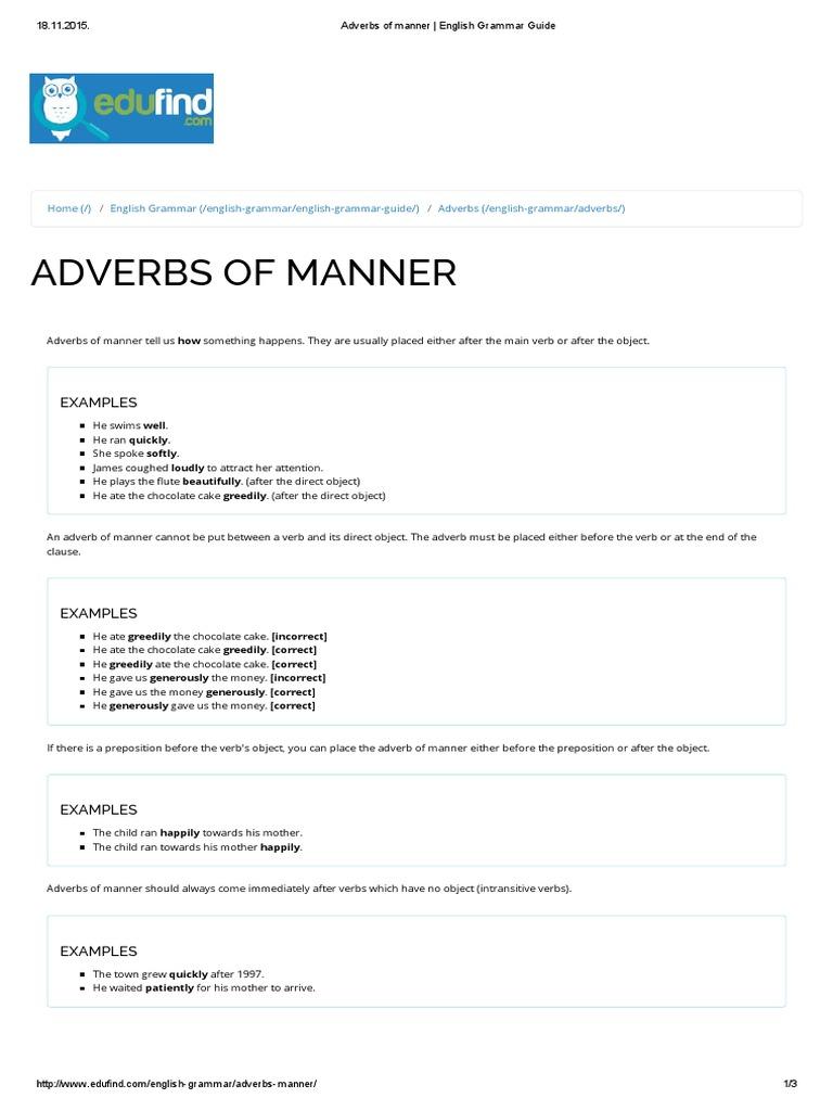 Adverbs Of Manner English Grammar Guide English Grammar Adverb