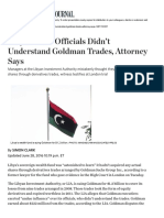 Libyan Fund Officials Didn't Understand Goldman Trades, Attorney Says