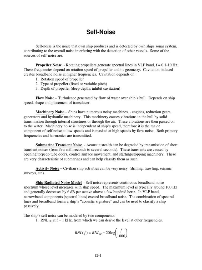 Self-Noise pdf | Propeller | Sonar