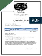 Tee Vine Designs Quotation Form