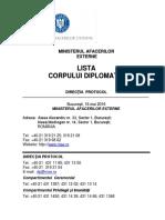 Lista Corpului Diplomatic 2016