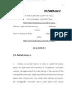 Supreme Court Judgment Dt. April 15, 2014 on Third Gender