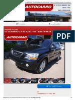 Kia Sorento 2.5 Ex 4x4 l 16v - 2008 - Preta