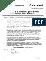 Message de la lieutenante-gouverneure à l'occasion de la fête du Canada