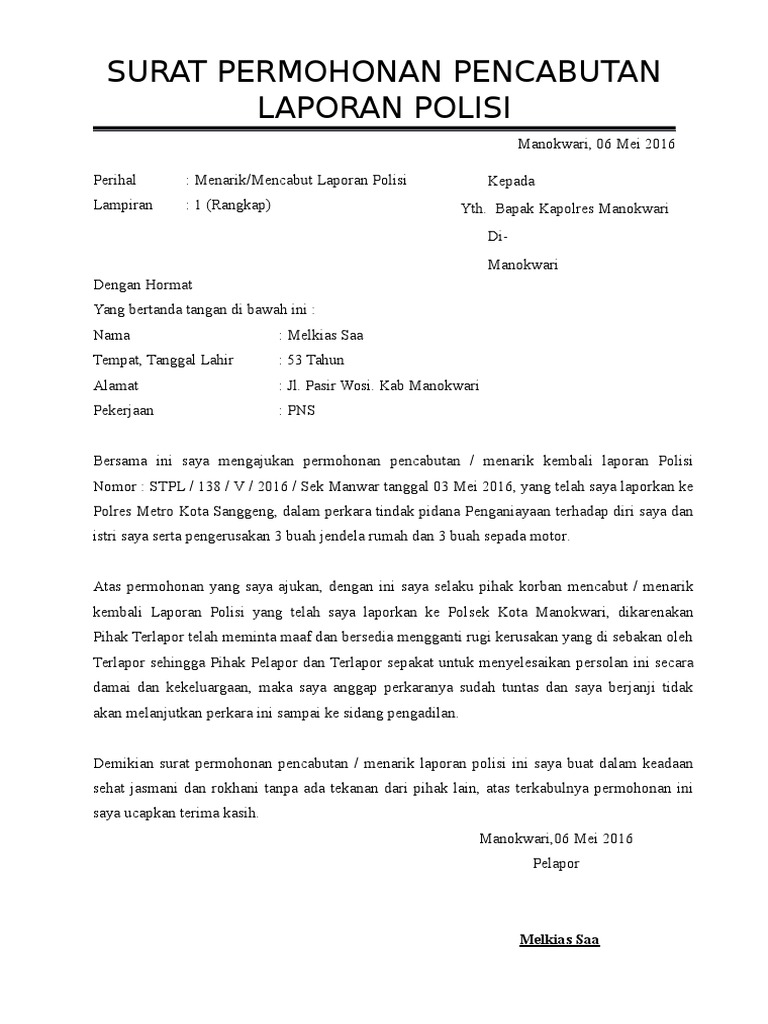 15 surat laporan kejadian