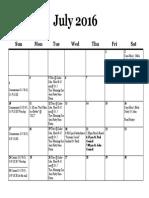 Calendar, July 2016
