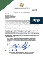 Florida State Representative Matt Gaetz letter re special session