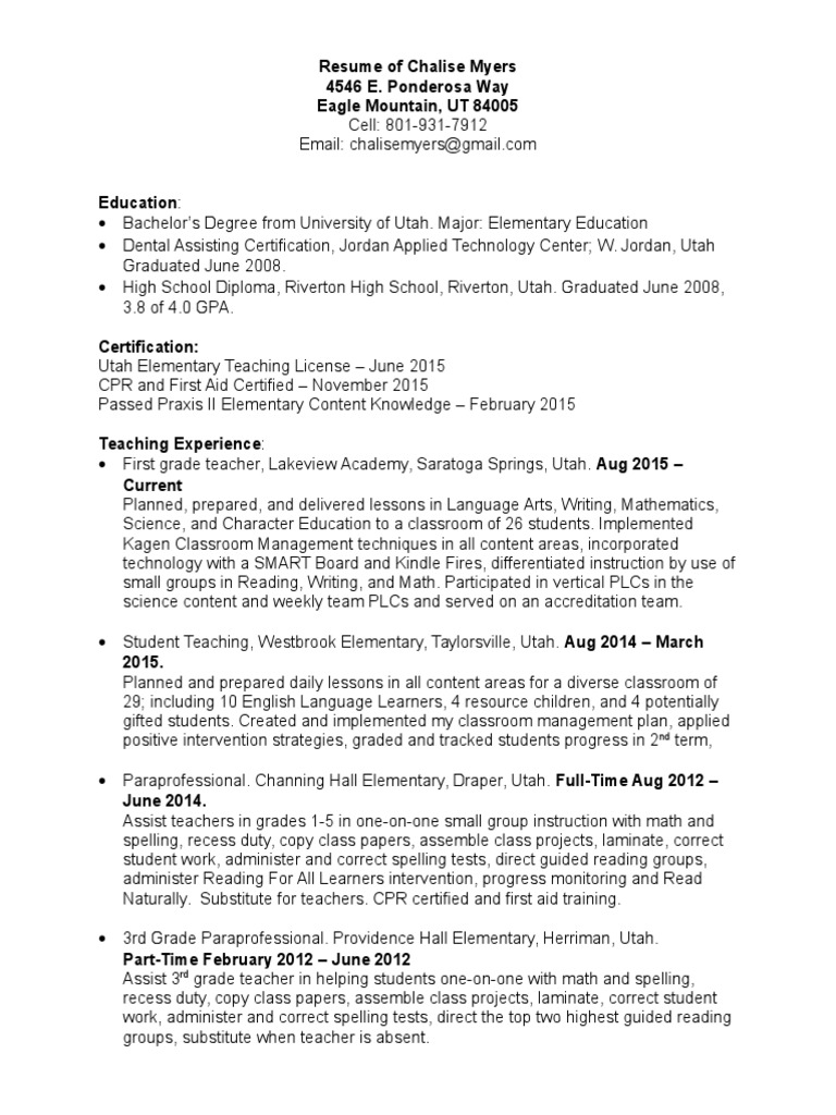 Resume of chalise myers dentistry secondary school 1betcityfo Gallery