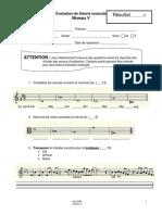 Examen de théorie musicale niv 5 - V6