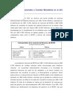 Reservas Internacionales y Cuentas Monetarias en el año 2001
