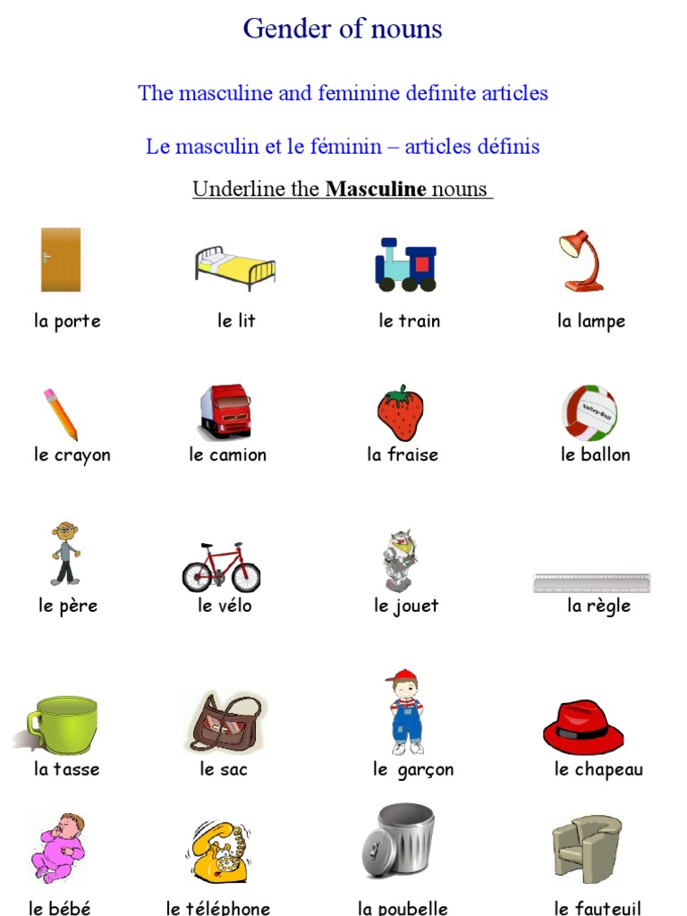 french worksheets gender of nouns french definite articles. Black Bedroom Furniture Sets. Home Design Ideas