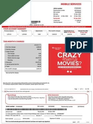 airtel postpaid duplicate bill copy