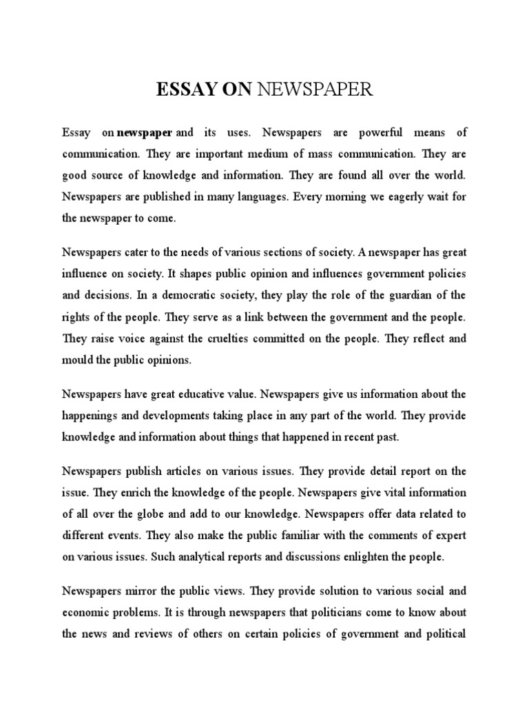 Essay Of Newspaper Essay About Newspapers Wwwomoalatacom Essay About Newspapers Writing A High School Essay also Business Etiquette Essay English Essay Speech Essay On Value Education Essay Of Newspaper  Essay Writing Thesis Statement