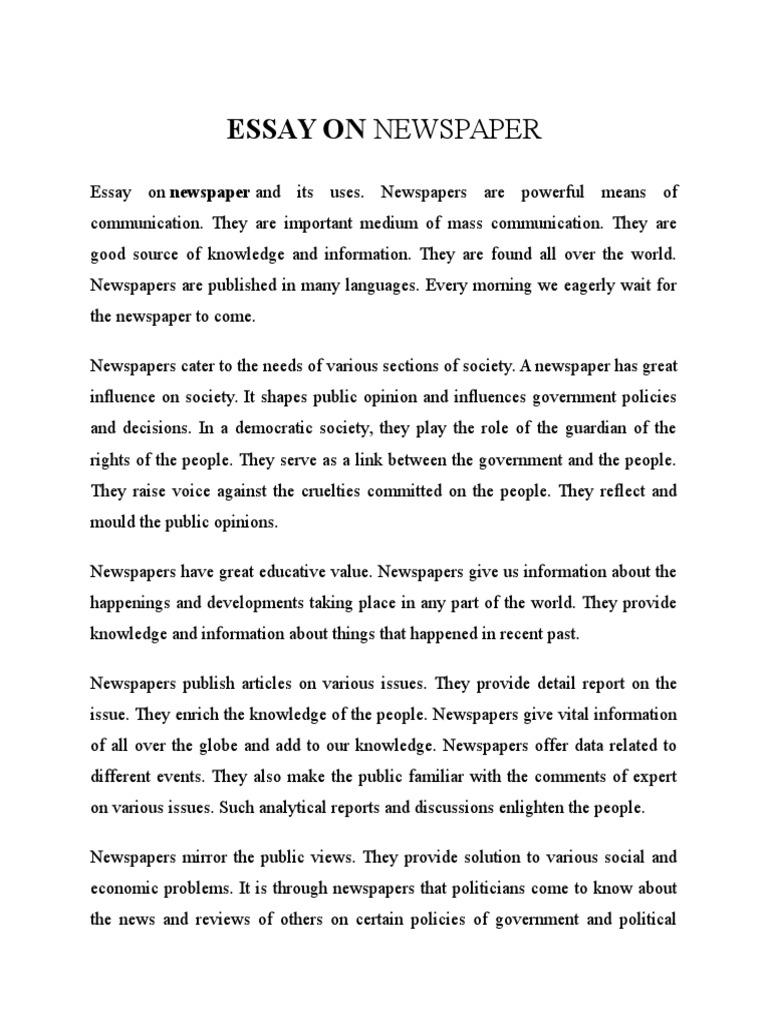 Essay newspaper page good concept essay topics
