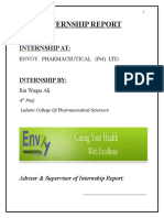 Internship Report Of Pharmaceutical Industry