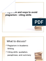 Plagiarism Quotations Paraphrases and Summaries3