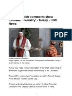 Pope Genocide Comments Show Crusader Mentality