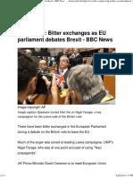 Bitter Exchanges as EU Parliament Debates Brexit