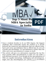 Top 5 Most Popular MBA Specializations in India