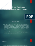 A Study on Customer Satisfaction in HDFC Ppt