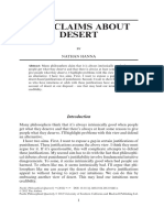Two Claims About Desert