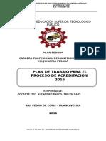 Plan de Trabajo Para El Proceso de Acreditacion