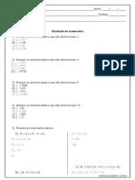 Atividade de Matematica Divisao e Expressoes Numericas 6º Ano Resposta