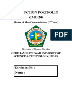 34278379 Production Portfolio Sample MMC Guru Jambheshwar University of Sciene and Technolgy Hisar