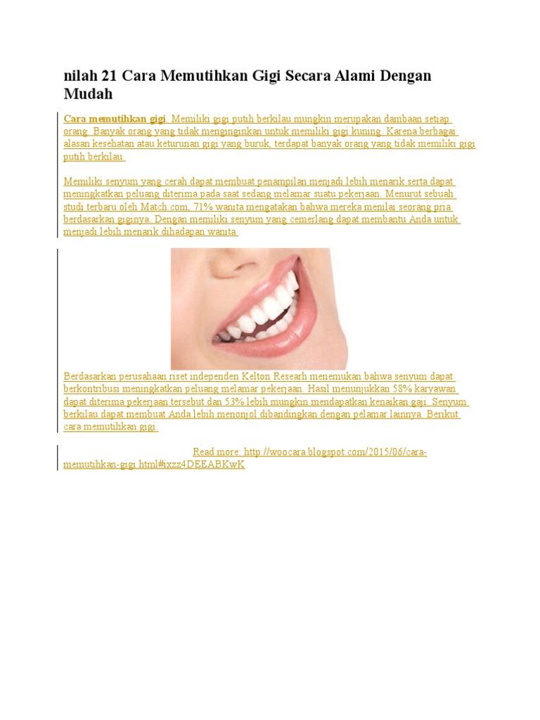 Nilah 21 Cara Memutihkan Gigi Secara Alami Dengan Mudah