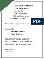 Indus Bank -Report on Summer Training