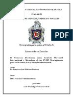 El Comercio Electrónico Como Contrato Mercantil Internacional y Mecanismo de Las Pyme Nicaragüenses Para Incursionar en El Comercio Internacional.